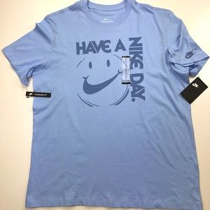 Nike Have A Nike Day Smile Blue Graphic T Shirt
